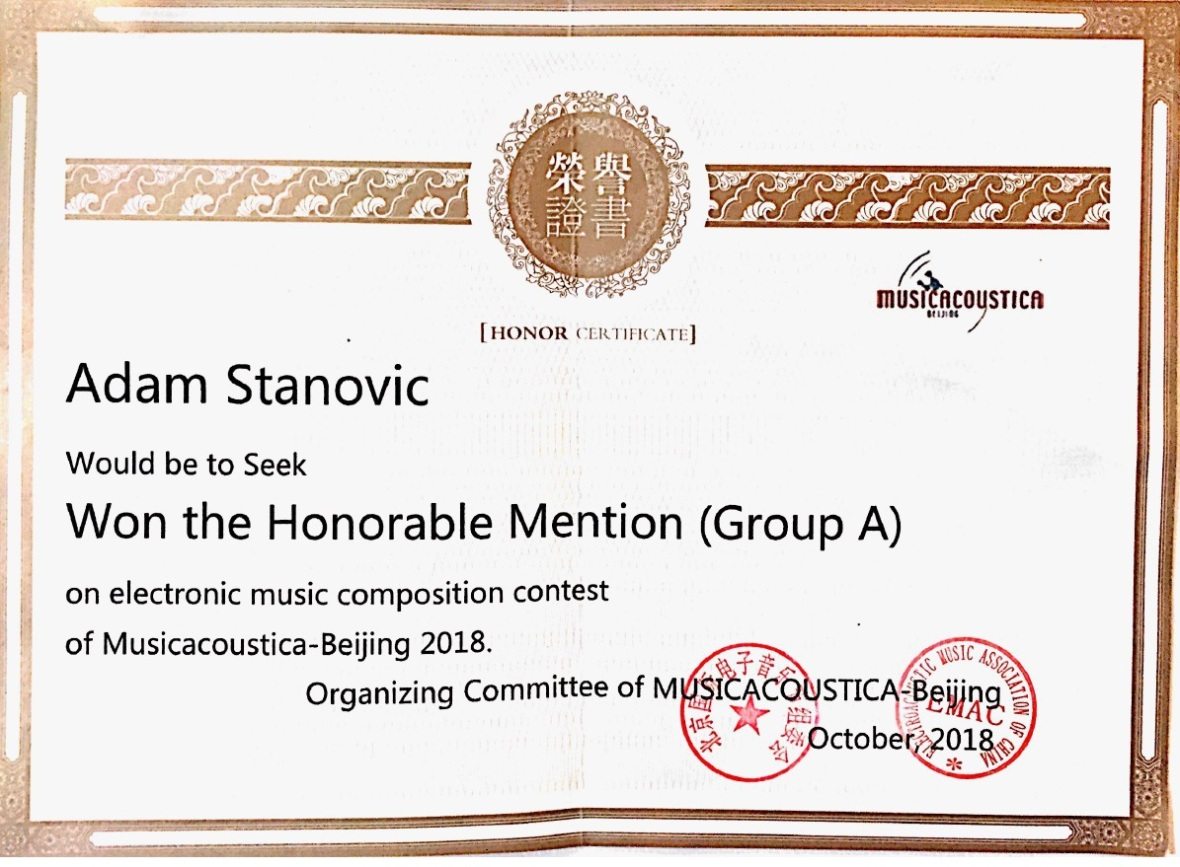 Musicacoustica Beijing - Stanovic Certificate